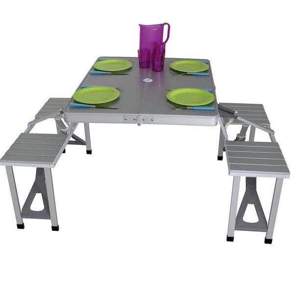 343dba4b319e6 Piknikový stôl s lavičkami - kufrík od Euro Trail LIMOUX strieborný ...