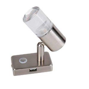 LED lapmpa CARBEST s dotykovým spínačom a USB portom v zásuvke, 12V, LED svetlo smievateľné pre karavany