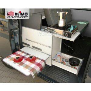 """Kuchynská časť VW T6/T5 """"Cooky"""", hotová časť s podložkou na rozšírenie postele"""
