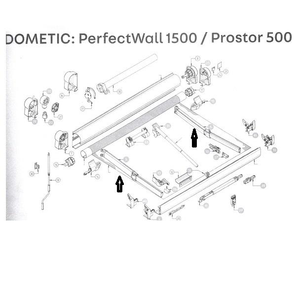 Kĺbové rameno pre markízu DometiPerfect Wall 1500, 250 cm