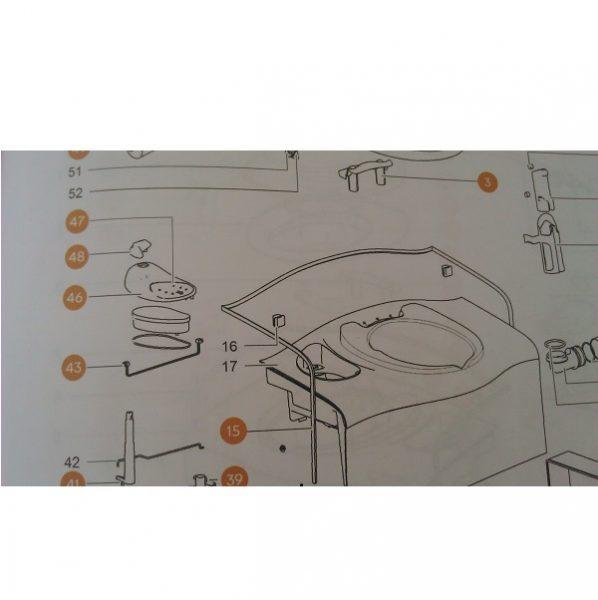 Sada ovládacieho panela pre toaletu Thetford SC400, tlačítko na splachovanie na toaletu thetford