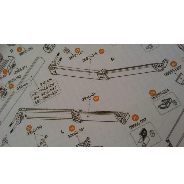 Kĺbové rameno pre markízu F45TiL Polar White/Titanium 450-550cm