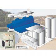 Kanistrový vodný systém pre kuchyňu v karavane