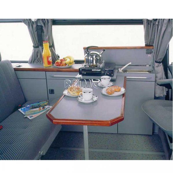 Lišta na stôl s centrálnym dorazom a zaisťovacou pákou do karavanu