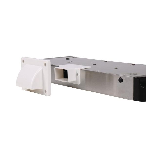 Spodná konštrukcia odsávača pár z nehrdzavejúcej ocele s osvetlením 2x 1,5 W LED (2x 80 Lumen), teplá biela (3000 Klevin), sací výkon 98 m3 / h, 12V, iba pre mobilné domy a karavany. Rozmery:Š40 x H27 x V5 cm Hmotnosť: 1,8kg