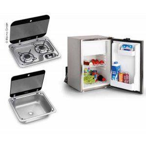 Campingbus-set 40 E - sporák, umývadlo a zabudovaná chladnička