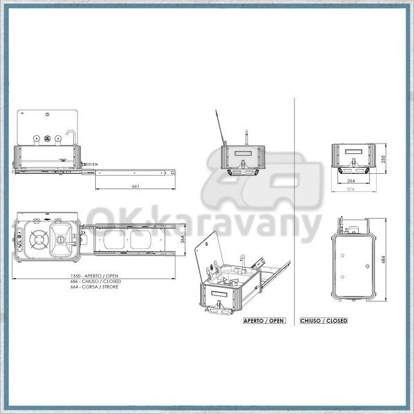 Výsuvný plynový sporák s drezom Can SL1323.LL